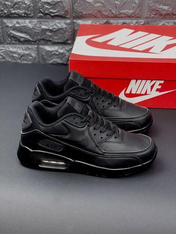 Nike Air Max 90 Black черные кожаные кроссовки Найк Аир Макс 90 Кожа!