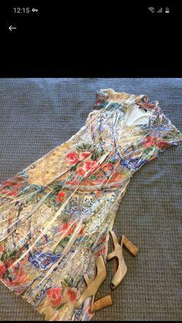 Стильное роскошное платье миди длинное вискоза кружево цветочный принт