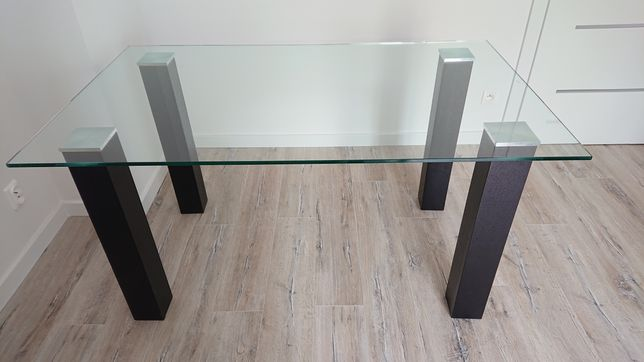 Stół szklany tafla szklana czarny nowoczesny do jadalni salonu LOFT