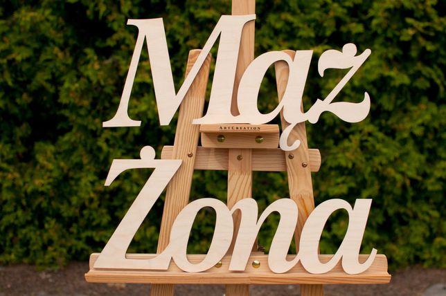 Drewniany napis Żona, Mąż ścianka weselna, ślub dekoracja