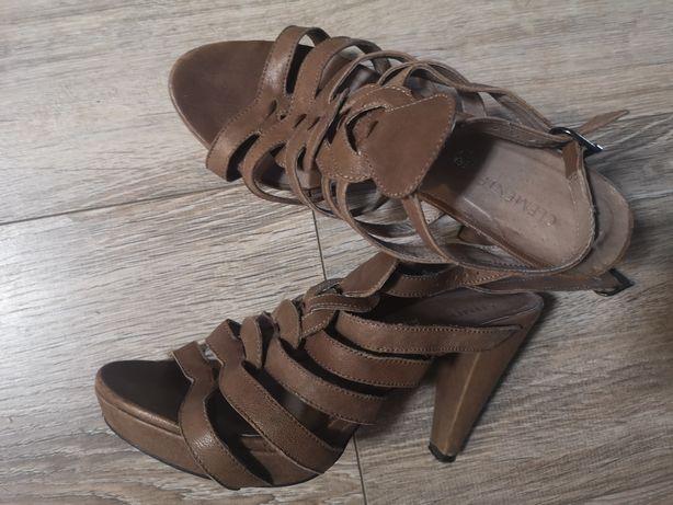 Sandałki obcas paski mocca beż Vera Pelle rozmiar 36