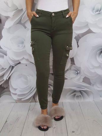 Spodnie bojówki push up perełki S L XL