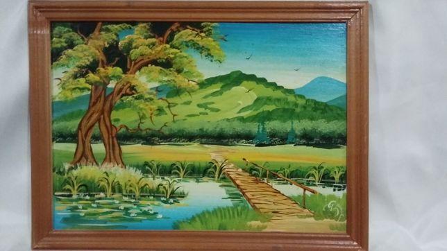Картина маслом 29х39 см. в деревянной рамке.