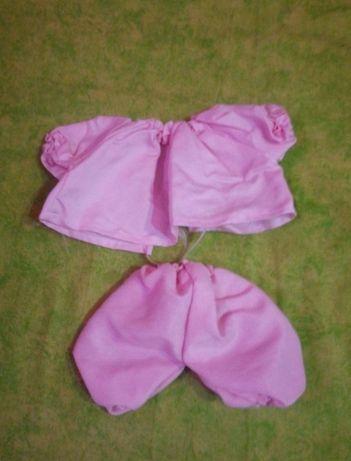 Conjunto camisa e calças rosa bonecas 25cm