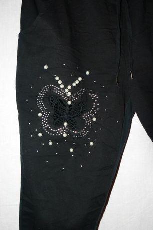 spodnie damskie czarne z perełkami xl