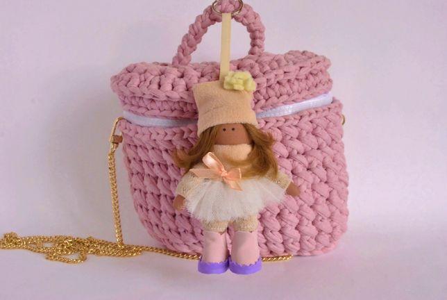 Женский брелок кукла ручная работа Яркий аксессуар на сумочку рюкзачок