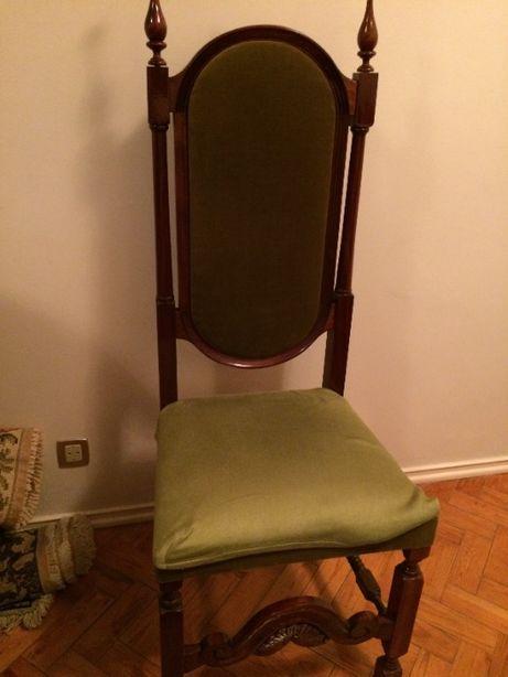 Cadeiras de sala de jantar, mogno com estofo e costas em veludo