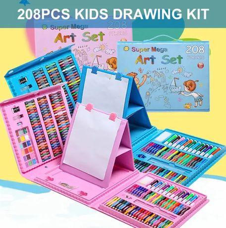 Набор художника для рисования с мольбертом в чемодане 208 предметов