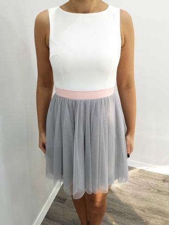 Sukienka tiulowa, szaro-biała, rozm. 36
