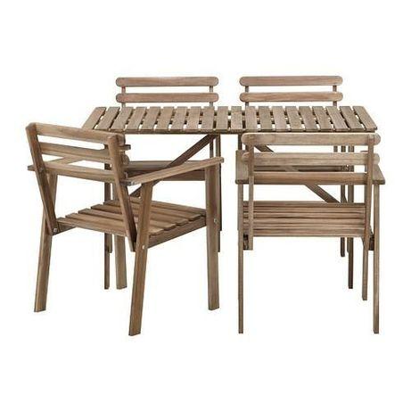 Drewniany stół + 4 krzesła ogrodowe/tarasowe