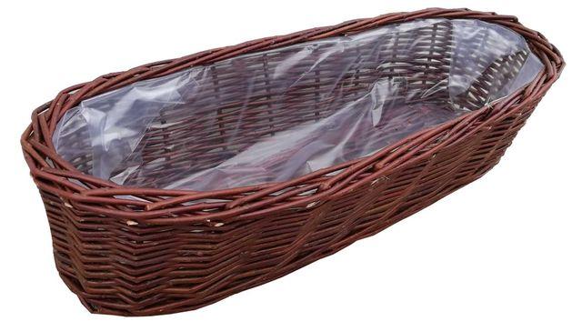 Wiklinowa doniczka, balkonowa, osłonka, dł. 40 cm (obszyta folią)