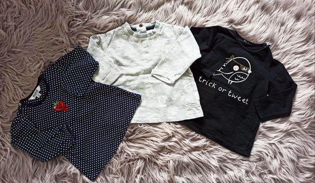 C&A, KANZ, COCCODRILLO 3szt bluzeczka koszulka tunika r. 74
