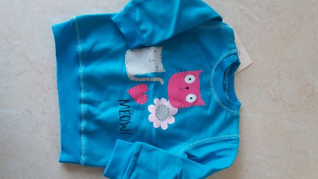 Nowa bluza niebieska kotek 80 cm