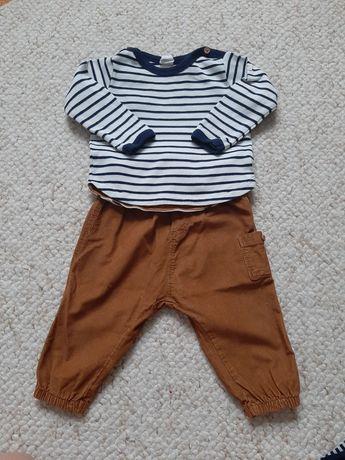 Zestaw h&m 74 bluzka w paski musztardowe spodnie komplet