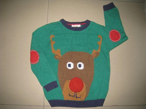 Фирменный новогодний свитер.кофта 5-6л. ( 110-116см)