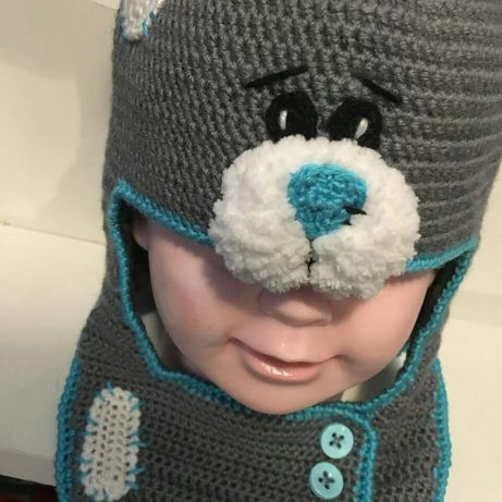 Шапка - шлем вязаная крючком