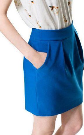 ZARA nowa spódnica tulipan niebieska chabrowa mini spódniczka