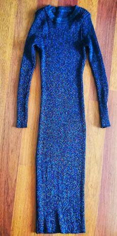 Вязанное платье в рубчик xs - x