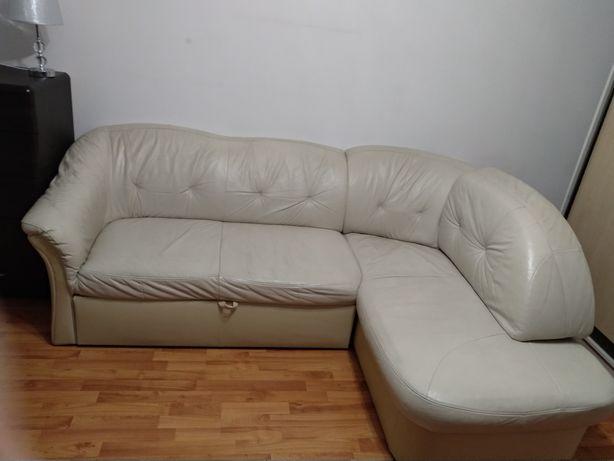 Sofa narożnik eko skóra, rozkładana
