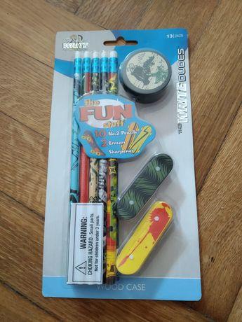 nowy zestaw szkolny ołówek gumka temperówka strugaczka deskorolka