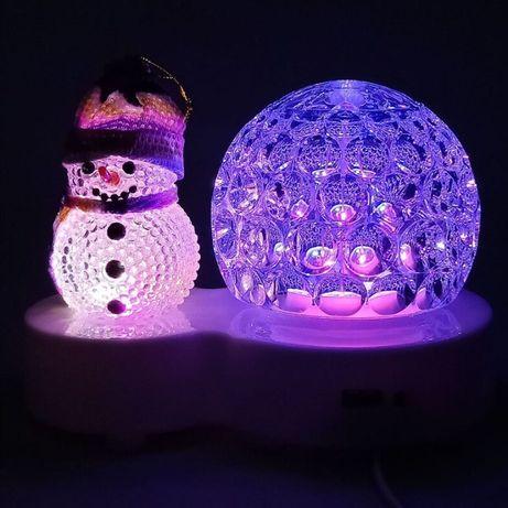 Диско шар Снеговик (светильник новогодний) (xx165)