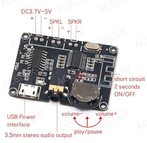 Bluetooth 5.0 (блютус) аудио модуль УНЧ 2*3 Вт регулятор громкости
