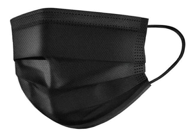 захисні Чорні Черные Маски с фиксатором для носа, 3 слоя. 50шт+Подарок