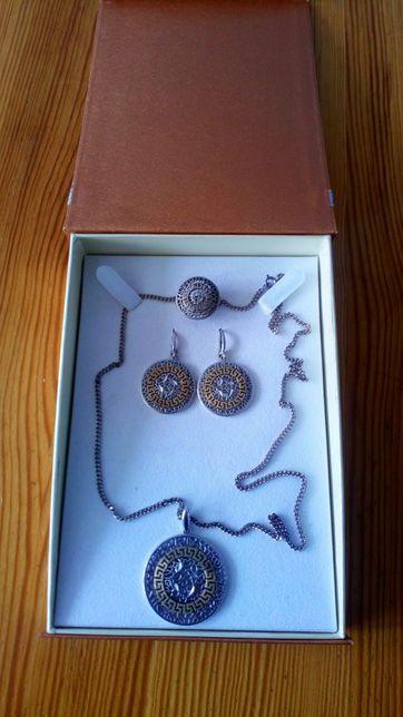 Łańcuszek pierścionek kolczyki srebro pr 925