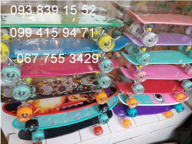 Пенни борд Penny board скейт скейтборд колеса светятся с принтом