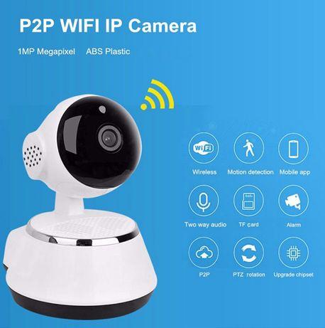 Camera Vigilância Rotativa 720P WIFI Android IOS Visao Noturna Seguran