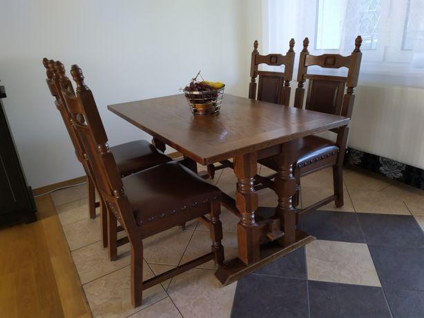 Stół drewno + 4 krzesła Solidne w BDB stanie!