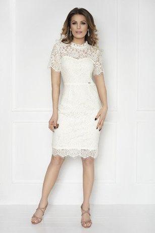 Sukienka koronkowa LA Aurora rozmiar 42, kolor kremowy, ecru