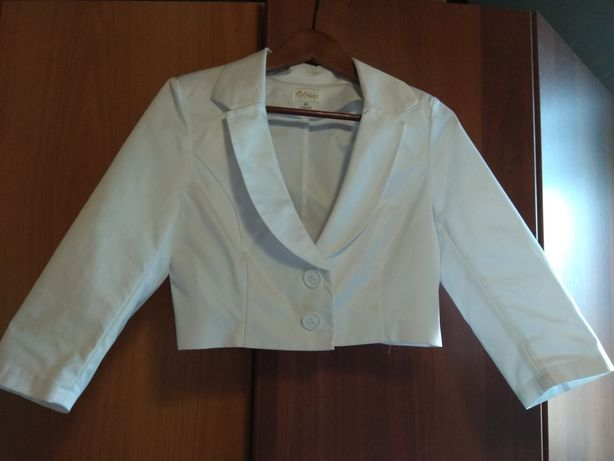 Bolerko, r. 42, M/L, białe, krótkie, eleganckie