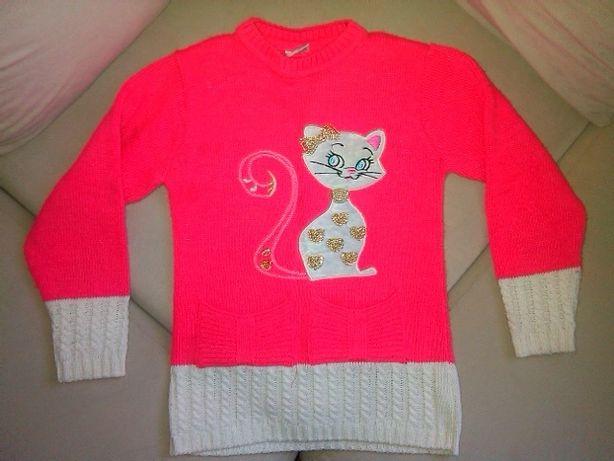 Кофта теплая, свитер, туника с кошкой.