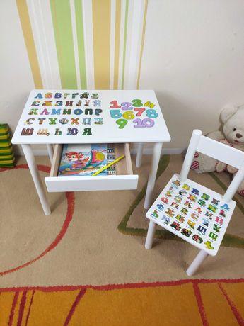 Детский столик и стул, азбука цифры,  деревянный развивающий