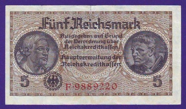 Банкнота 5 рейхсмарок для оккупированных территорий. Германия.