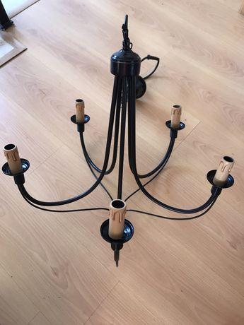 Candeeiro de teto preto para 5 lampadas