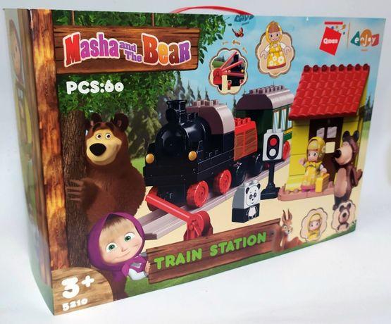 Конструктор Аналог Lego Duplo Маша и Медведь Железная дорога Лего