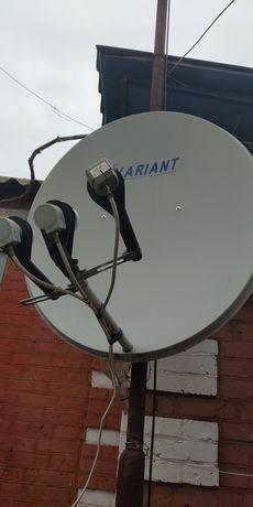 Спутниковая тарелка, телевизор,двд
