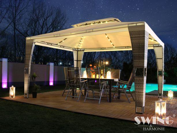 Pawilon ogrodowy rattanowy 3x4 m z oświetleniem LED - 6 kolorów