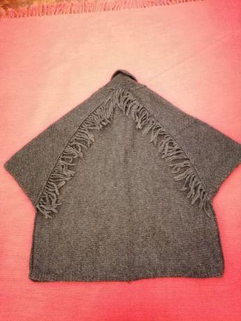 casaco de lã/capa cinza escuro da Stefanel
