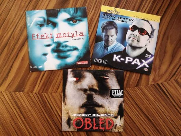 """""""K-PAX"""", """"Efekt motyla"""", """"Obłęd"""" - filmy na DVD"""