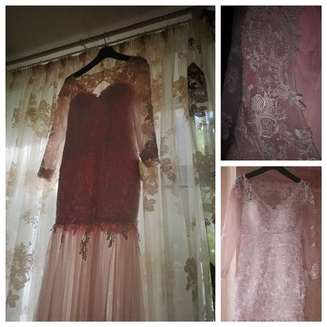 Новое с биркой свадебное / вечернее платье , цвет пудра , со шлейфом