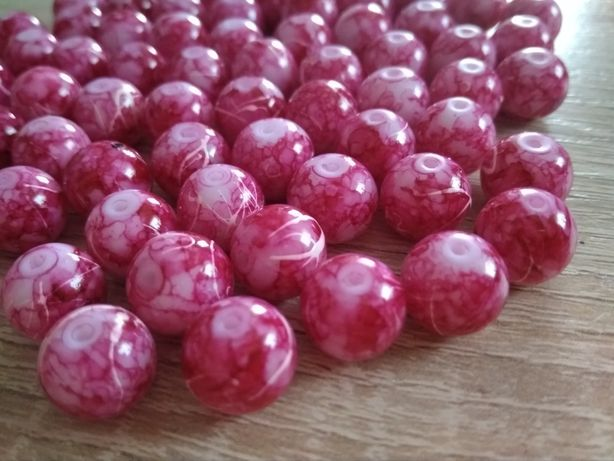 Szklane koraliki fuksja róż 10mm (20sztuk) 15 kompletów