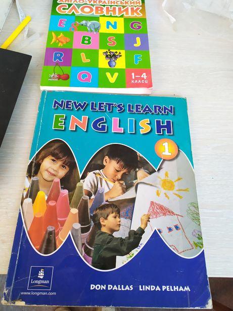Английский New let's learn English + словарь +алфавит +карточки