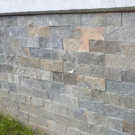 Płytki Kamienne Łupek Deoli Gold Green 10x30x1cm / ELEWACJA / ŚCIANA