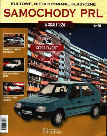 Skoda Favorit model skala 1:24 Samochody PRL, kolekcja Hachette