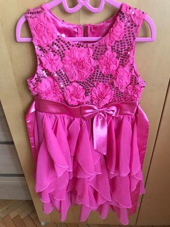Sukienka dla dziewczynki 6-7 lat uroczystość wiosna elegancka różowa