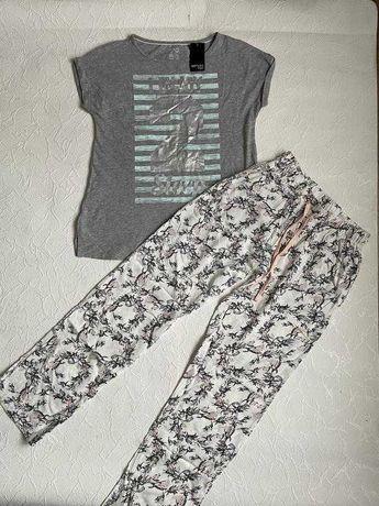 Стильная пижама, футболка + штаны костюм для дома и сна