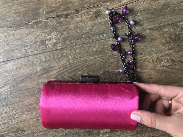 Клатч вечірній яскраво малиновий з фіолетовим, кремовий і чорни